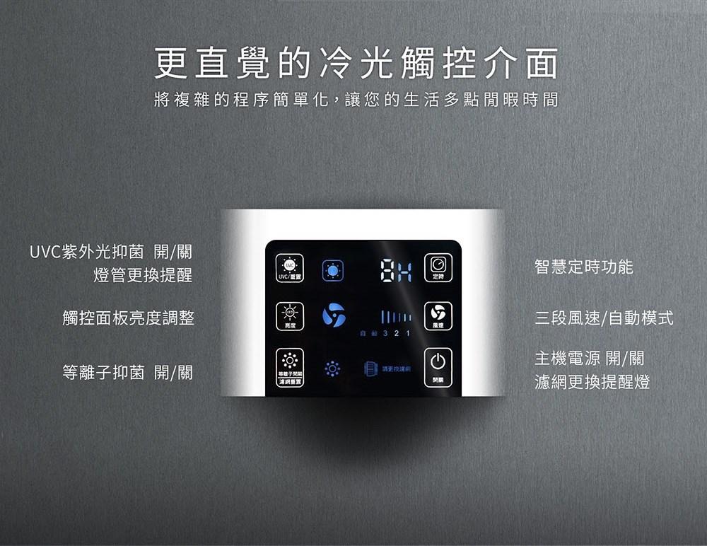 更直覺的冷光觸控介面:將複雜的程序簡單化,讓您的生活多點閒暇時間。六個功能鍵:UVC紫外光抑菌開關/燈管更換提醒顯示,觸控面板亮度調整,等離子抑菌開關,智慧定時功能,三段風速/自動模式,主機電源開關/濾網更換提醒燈顯示