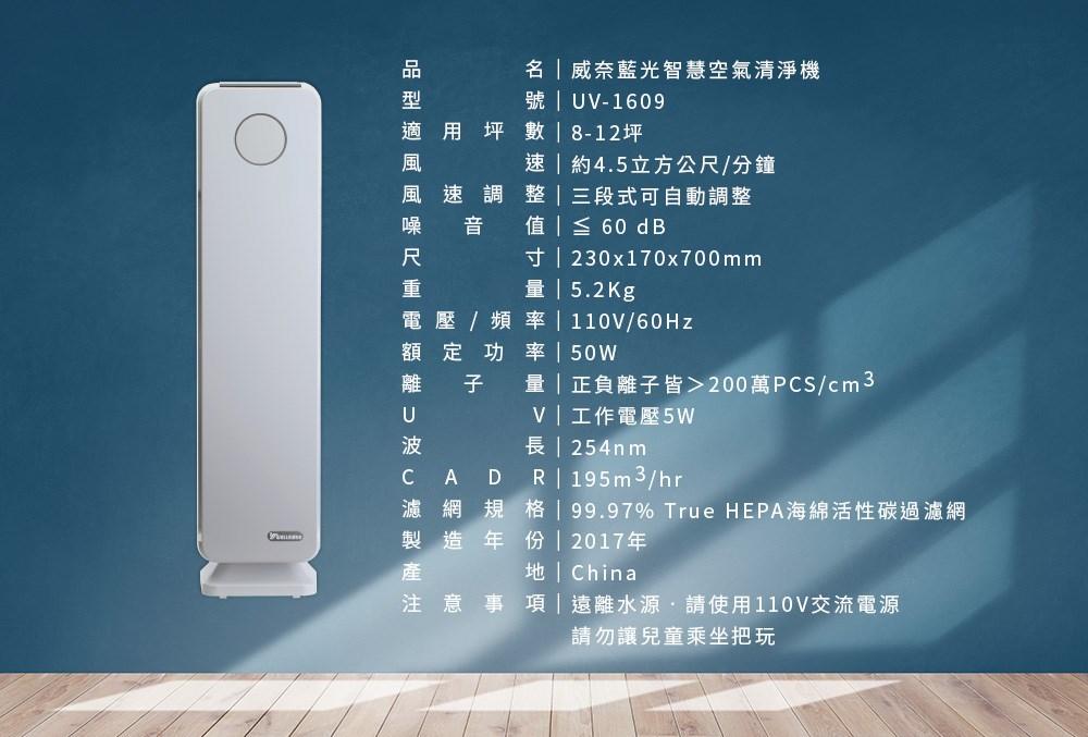 品名:威奈藍藍光智慧空氣清淨機。型號:UV-1609。適⽤用坪數:8-12坪。風速:約4.5立⽅方公 尺/分鐘。風速調整:三段式可⾃自動調整。噪⾳音值:≦60dB。尺⼨寸:23×17×70cm。重量量: 5.2kg。電壓/頻率:110V/60Hz。額定功率:50W。離⼦子量量:正負離⼦子皆>200萬PCS/cm3。 UV:⼯工作電壓5W。波長:254nm。CARD:195m3/hr。濾網規格:99.97% True HEPA海海綿活 性碳過濾網。產地:China。注意事項:遠離⽔水源,請使⽤用110V交流電源,請勿讓兒童乘坐把玩