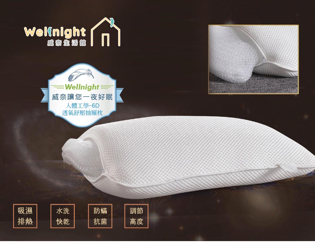 Wellnight威奈讓您一夜好眠。人體工學-6D透氣舒壓抽屜枕。吸濕排熱。水洗快乾。防蹣抗菌。調節高度。